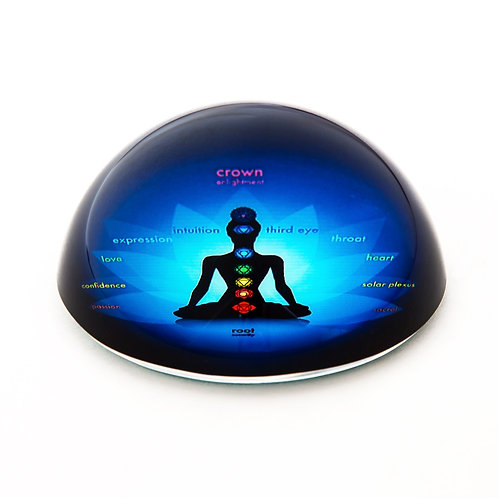 7 Chakras Glass Dome Paperweight
