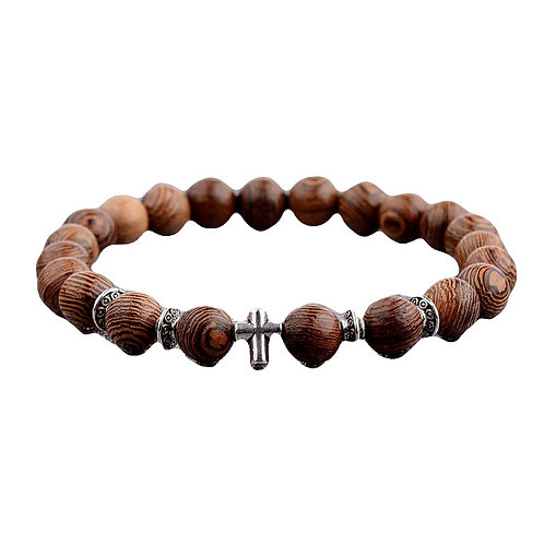 Onyx Wood Beads Cross Band