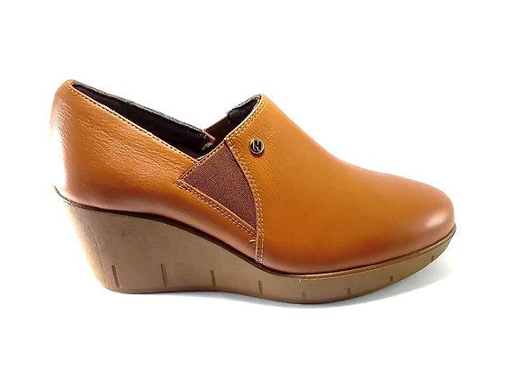 Hispana Zapato De Piel Con Altura De 7 Cm Mod. Gaby Choclo