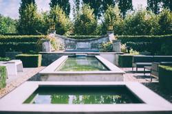 Garten, Teich, Wasserbecken, Hecke
