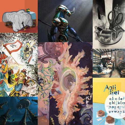 Collage of Portfolio Preparation artworks