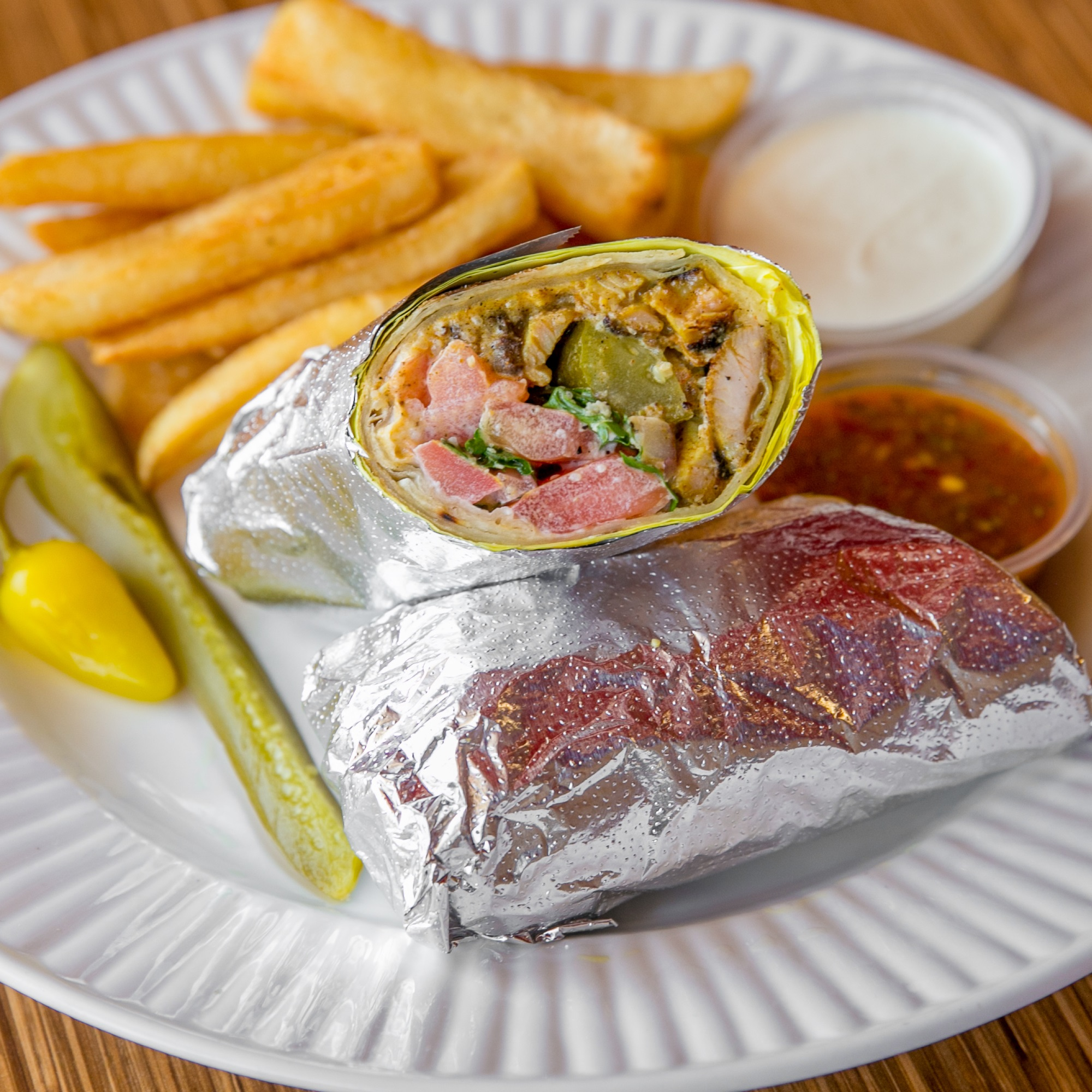 Chicken Shawarma Sandwich Combo with Fries