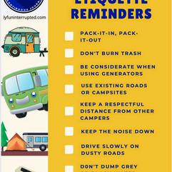 Boondocking Etiquette Reminders