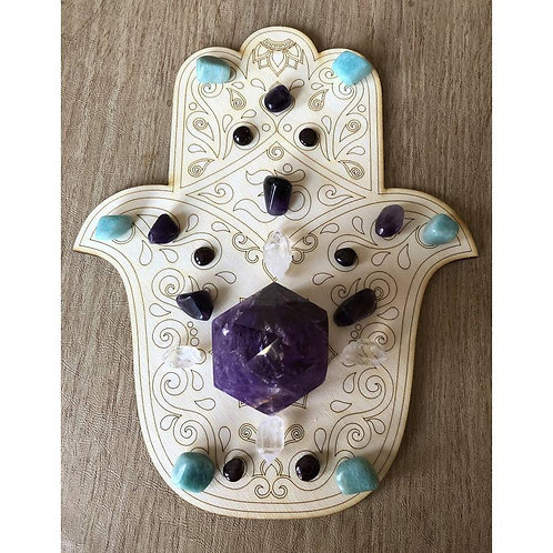 Hamsa Hand Crystal Grid