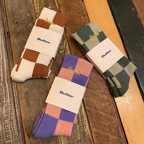 Butter Checkered Socks