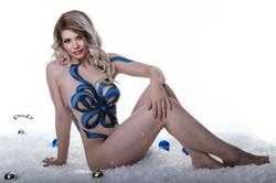 Blue ribbon body paint