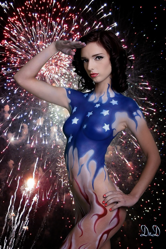 USA Flag body paint