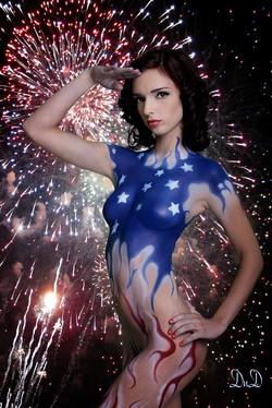 USA Flag body paint