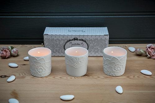 Three Porcelain Tealight Holders