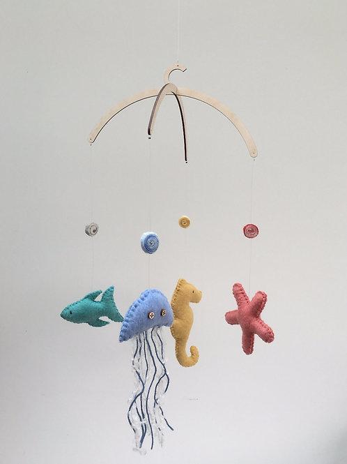 Handmade Felt Cot Mobile - Under the Sea