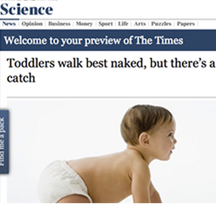 Toddlers walk best naked but there's a catch