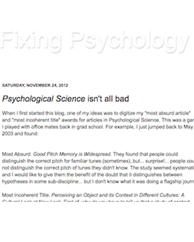 Psychological Science isn't all bad