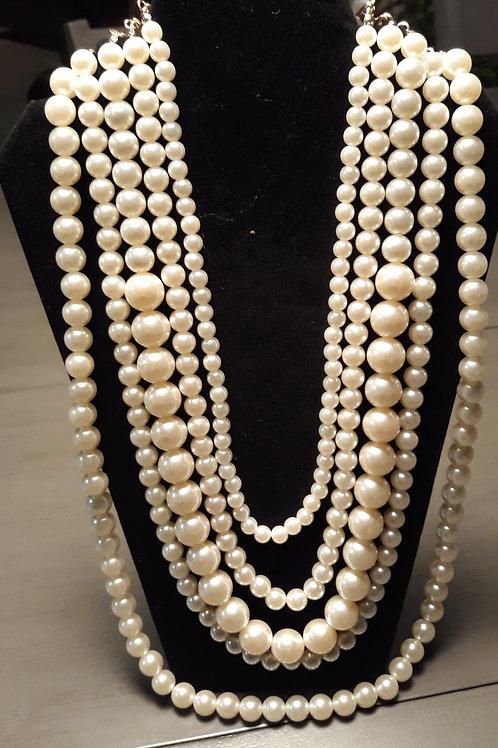 Cream Pearl Multi-Strand Necklace Set