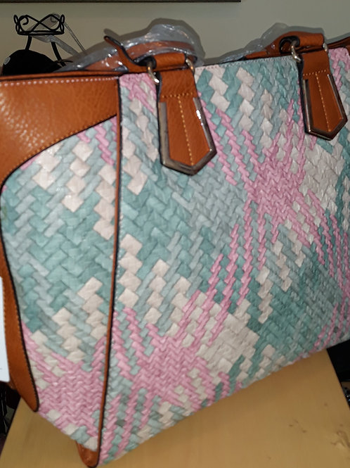 Pink and Light Green Tote Handbag