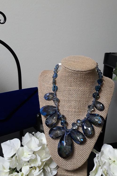 Blue Crystal Necklace Set