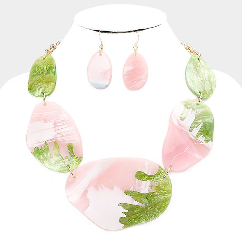 Pink and Green Shell Necklace