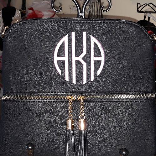Black Monogrammed Crossbody Bag