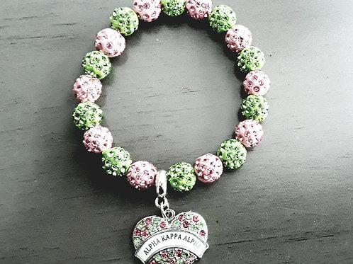Pink & Green Stretch Charm Bracelet