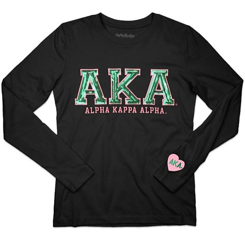 AKA Long Sleeve Sequin Tee (Black)