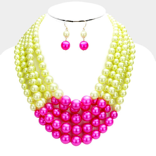 Pink & Green Multi-Strand Pearl Necklace