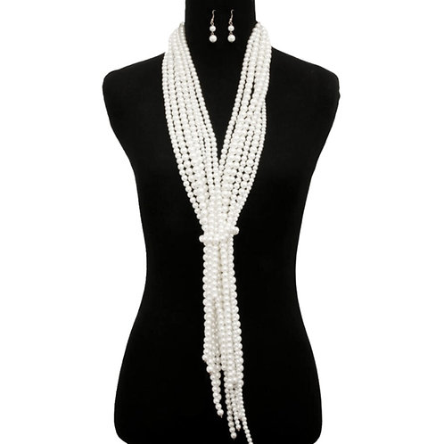 White Pearl Scarf Necklace Set