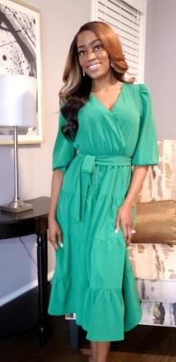 Green Ruffled Dress