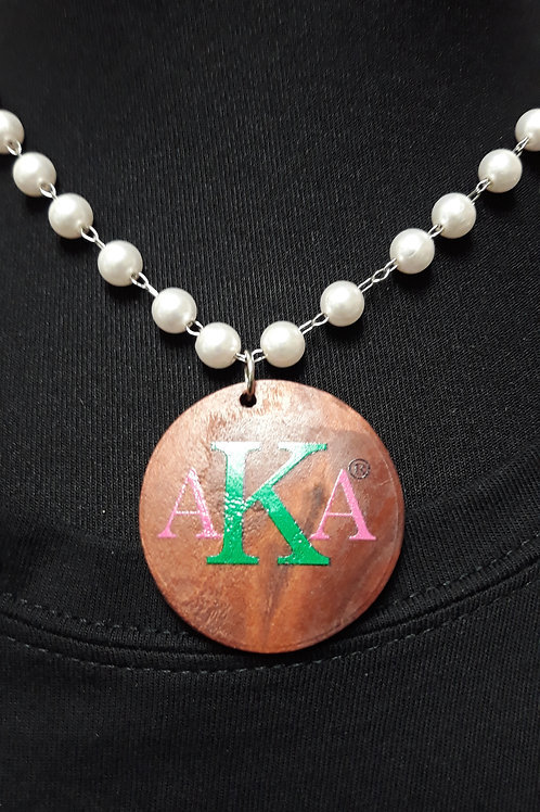 Short AKA Pearl Necklace- Wood Charm