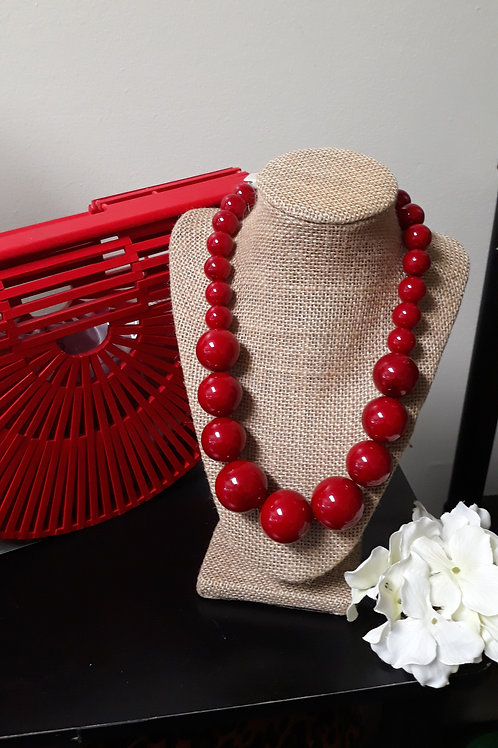 Red Chunky Pearl Necklace Set