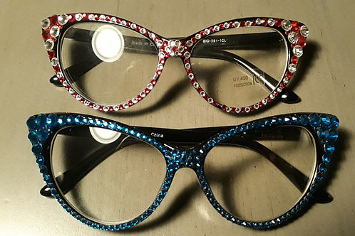 Cateye Rhinestone Fashion Glasses