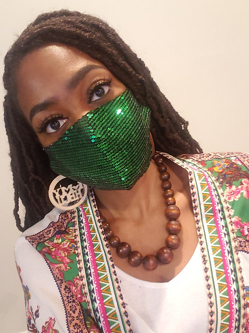 Green Glitter Sequin Face Mask