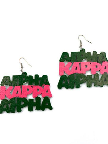 AKA Pink and Green Wood Earrings
