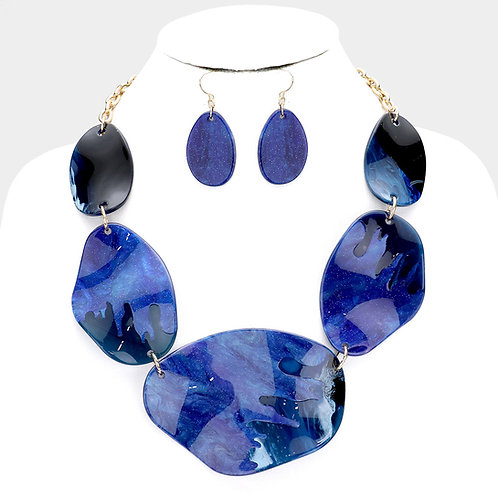 Blue Shell Abstract Necklace