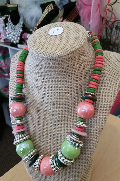 Ceramic and Wood Beaded Necklace Set