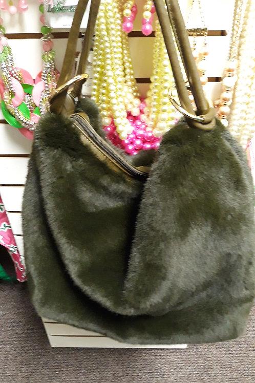 Hunter Green Faux Mink Handbag