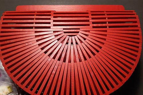 Red Bamboo Clutch Handbag