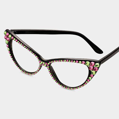 Crystal Rhinestone Retro Cateye Sunglasses