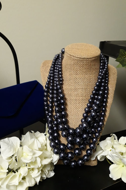 Dark Blue Pearl Multi-Strand Set