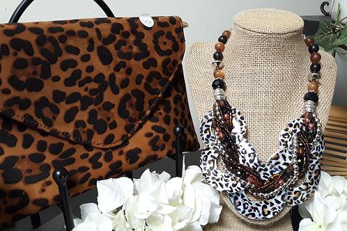 Leopard Print Clutch + Necklace Set