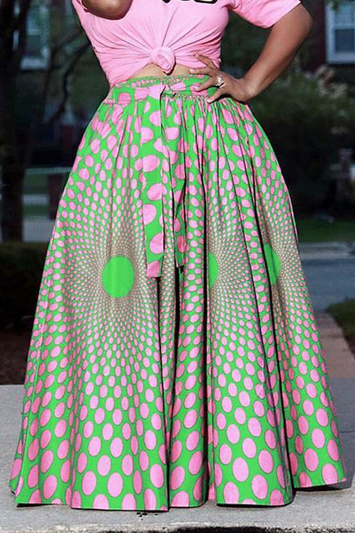 Printed Pink & Green Ankle Length Skirt