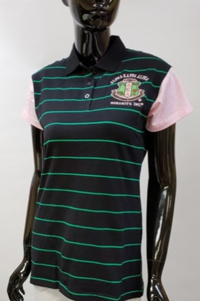 AKA Black Striped Short Sleeve Polo Shirt