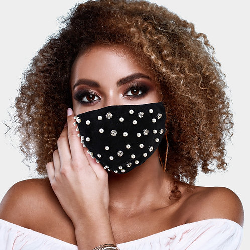 Black Pearl & Stone Embellished Mask