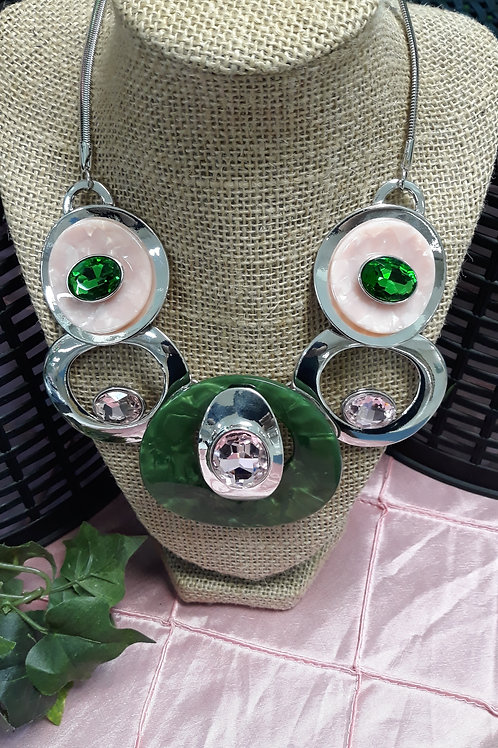 Pink and Green Art Deco Necklace