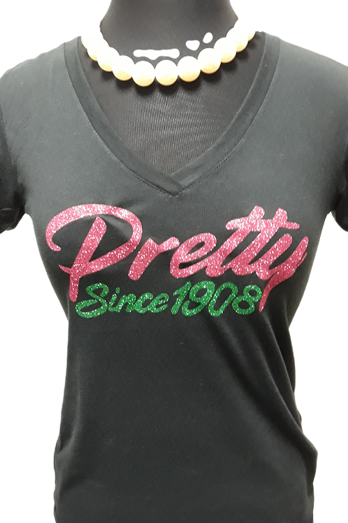 Pretty Since 1908 V-Neck Bling Tee