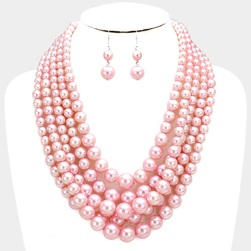 Pink Multi-Strand Pearl Necklace