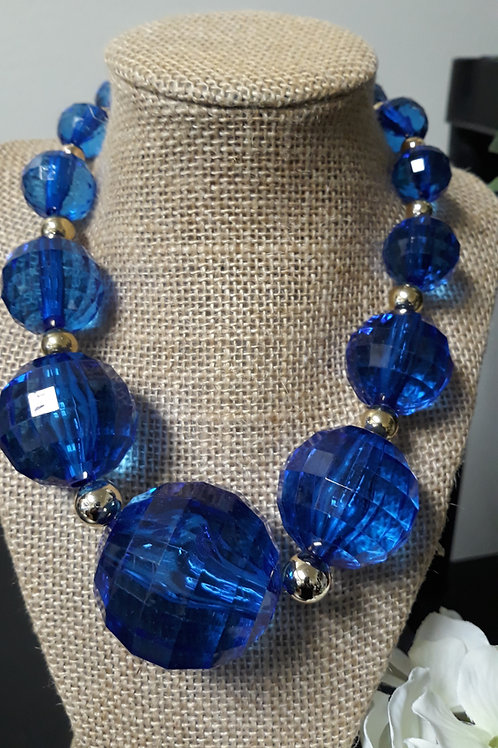 Blue Bead Chunky Necklace Set