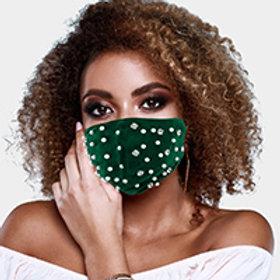 Green Pearl & Stone Embellished Mask