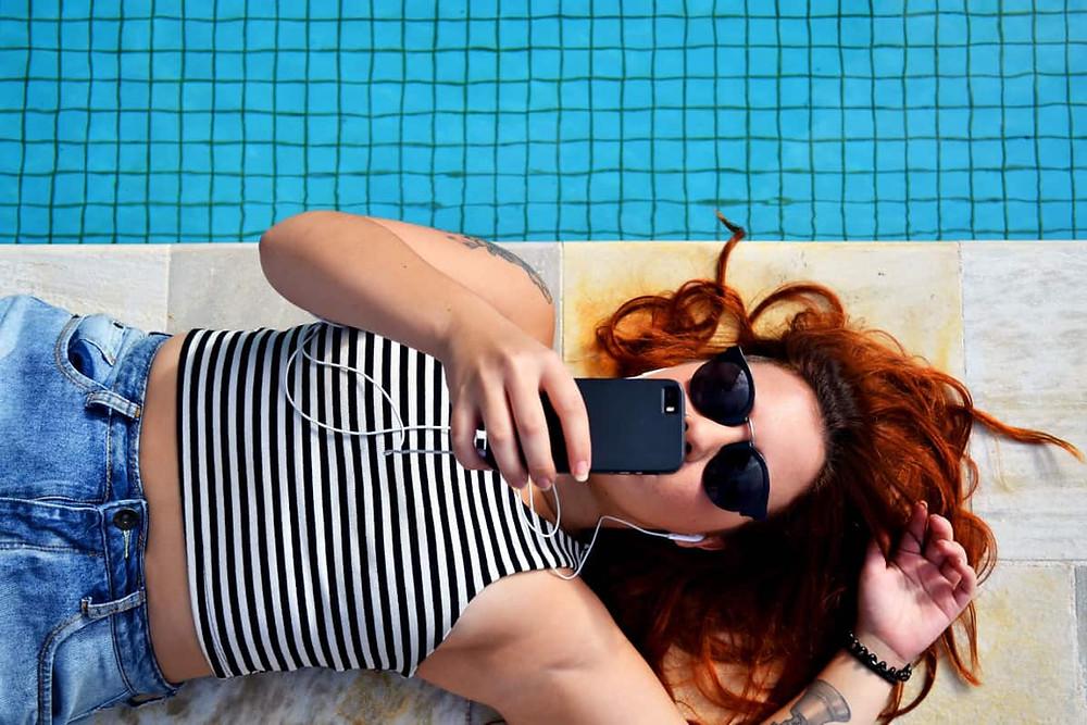 A girl is taking selfie
