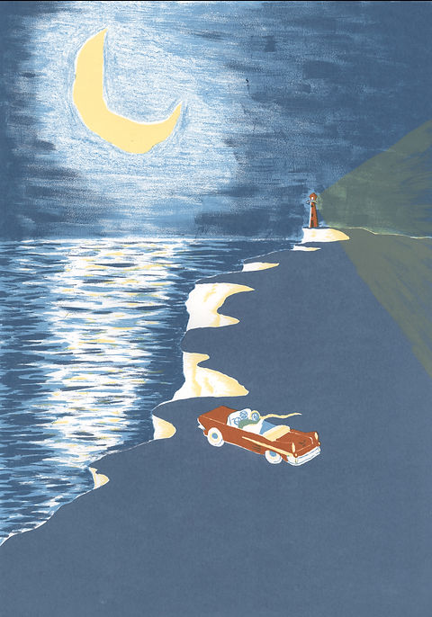 Megan Hobby Kauffman ocean cliffs car lighthouse moonlight water romantic moon night