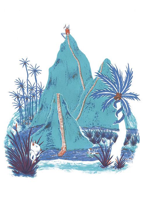 Megan Hobby Kauffman island adventure tropical water tiny house teal blue