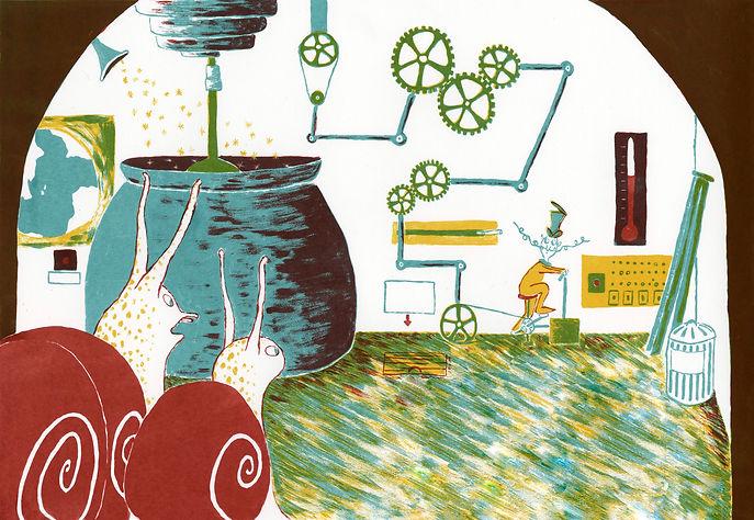 Megan Hobby-Kauffman illustration snails stir workshop laboratory adventure